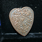 Vintage Novelty Repousse Heart Shaped Lighter
