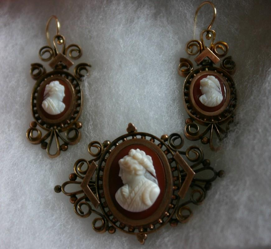 Antique Victorian Hardstone Cameo Earrings and Brooch Watch Pin Demi Parure