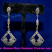 Gorgeous  Art Deco Marcasite and Sterling Earrings German Great Gatsby Look!
