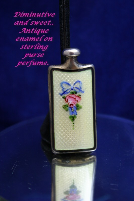 Gorgeous Art Deco THOMAE Guilloche Enamel and Sterling Perfume Bottle