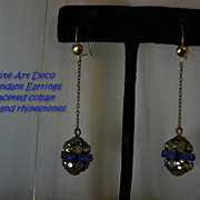 Hollywood ART DECO Pendant Drop Rhinestone Earrings with Cobalt Rondeles