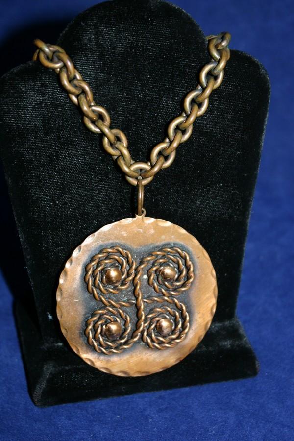 Vintage REBAJE Coils Copper Pendant Necklace
