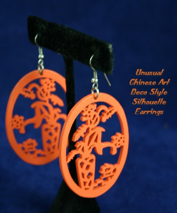 Unique Art Deco Chinese Cutout Silhouette Earrings