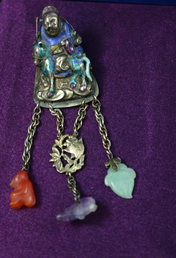 Rare ANTIQUE CHINESE Silver Enamel Jade  Man on Horse Brooch