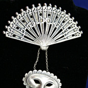 Theatrical Sterling Fan and Mask Brooch by LANG