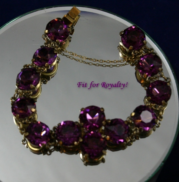 Divine Antique Edwardian Amethyst Bracelet in Gilt Silver