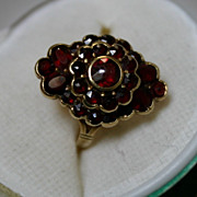Antique Fancy Garnet Ring in 14K Gold Setting Size 3 1/2