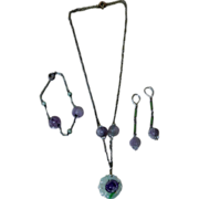 Chinese ART DECO Carved Amethyst and Jade Parure: Necklace, Bracelet, Earrings