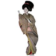 Beautiful Old Japanese Gofun Geisha Doll in Kimono and Obi