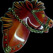 Spectacular Vintage BAKELITE Carved Horse Brooch