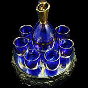 Venetian Glass Cobalt Blue and Gold Gilt Decanter Set