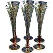 Venetian Art Glass Cranberry Gilt Champagne Flutes
