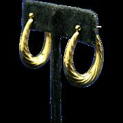 Beautiful Vintage 14K Gold Puffy Twist Hoop Earrings