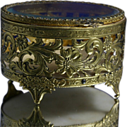 Gorgeous Vintage Gilt Filigree Jewel Casket Box with Beveled Glass Lid
