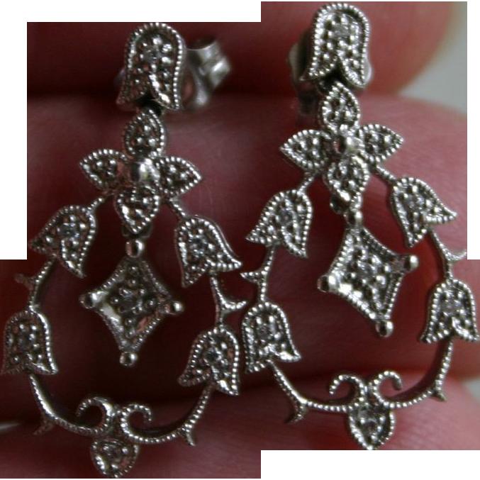 Belle Epoque Edwardian Style Diamond and 14K White Gold Pendant Earrings