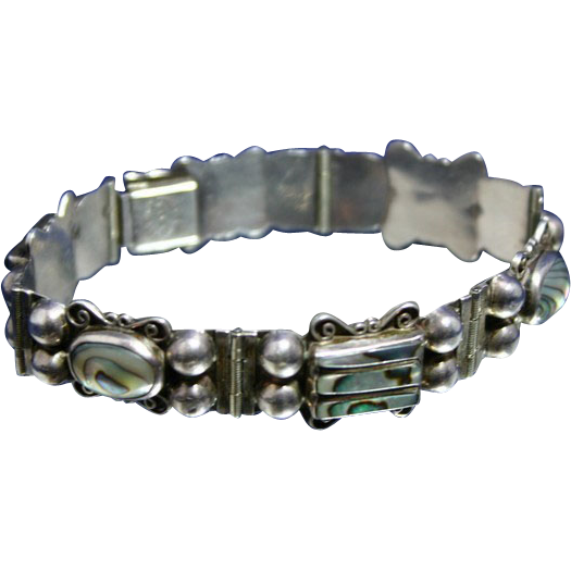 Signed DEL RIO Vintage MEXICAN Silver and Abalone Bracelet