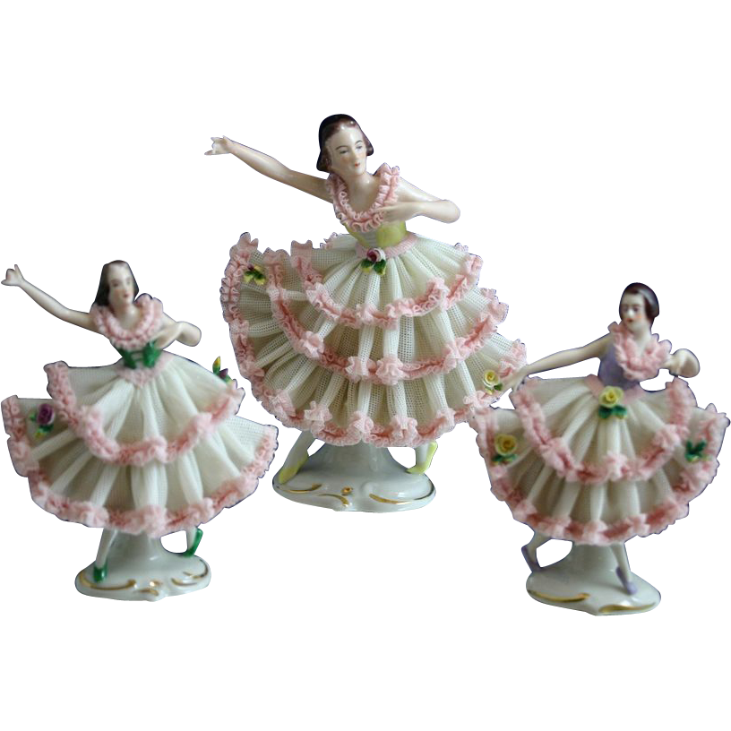 Precious Set of Three DRESDEN Porcelain Ballerinas