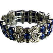 Fantastic Early KTF Trifari  ART DECO Jeweled Sapphire Rhinestone Bracelet