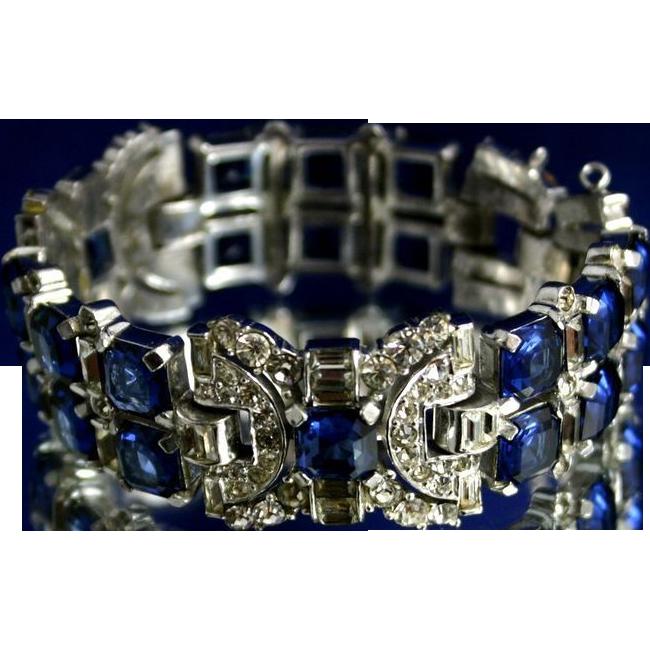 Fantastic ART DECO Jeweled Sapphire Rhinestone Bracelet