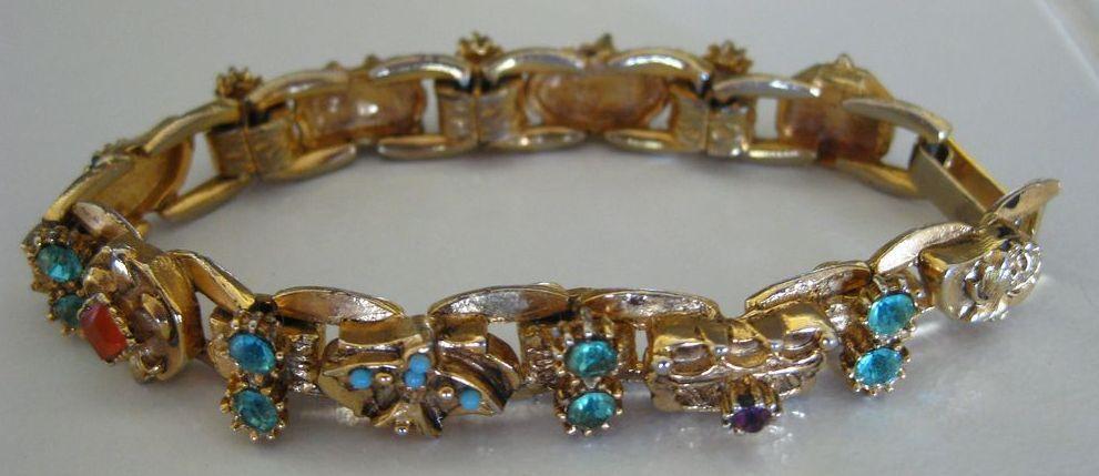 Beautiful Mid Century Victorian Revival Aqua, Apricot and Purple Rhinestone Bracelet