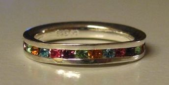 Sparkling Multi Color Stackable Band Ring in Sterling Silver- Size 5 1/2