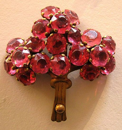 Pretty Vintage 1940's Prong Set Rose Pink Rhinestone Bouquet Brooch in Brass