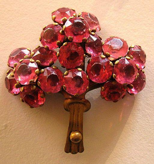 Pretty Vintage 1940's Prong Set Rose Pink Rhinestone Bouquet Brooch in Brass
