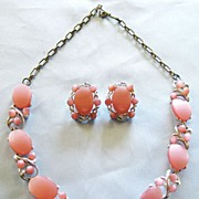 "Lovely Vintage Pink Thermoset Demi with Berry Design- Necklace and Earrings by ""Star"""