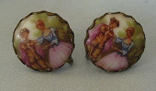 Pretty Italian Fragonard Portrait Porcelain Screwback Earrings- 1930's