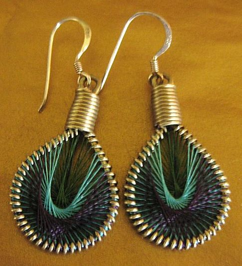 "Unique Vintage ""Op Art"" Dangle Earrings with Sterling Silver French Wires for Pierced Ears"