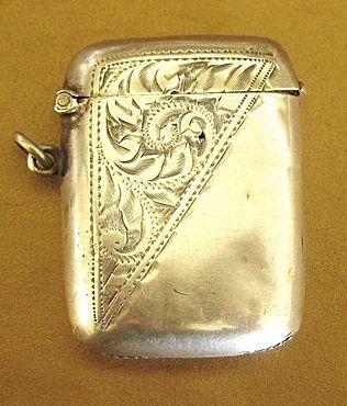 Antique English- Birmingham 1871- Embossed Sterling Silver Match Safe