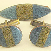 SALE Wonderful Vintage Enamel on Copper Cuff Links and Tie Clasp Set