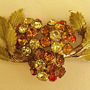 Gorgeous Sparkling Vintage 1965 Hobe Rhinestone Berries and Leaves Brooch
