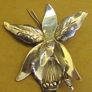 Beautifully Crafted Signed Vintage Sterling Silver Orchid Brooch