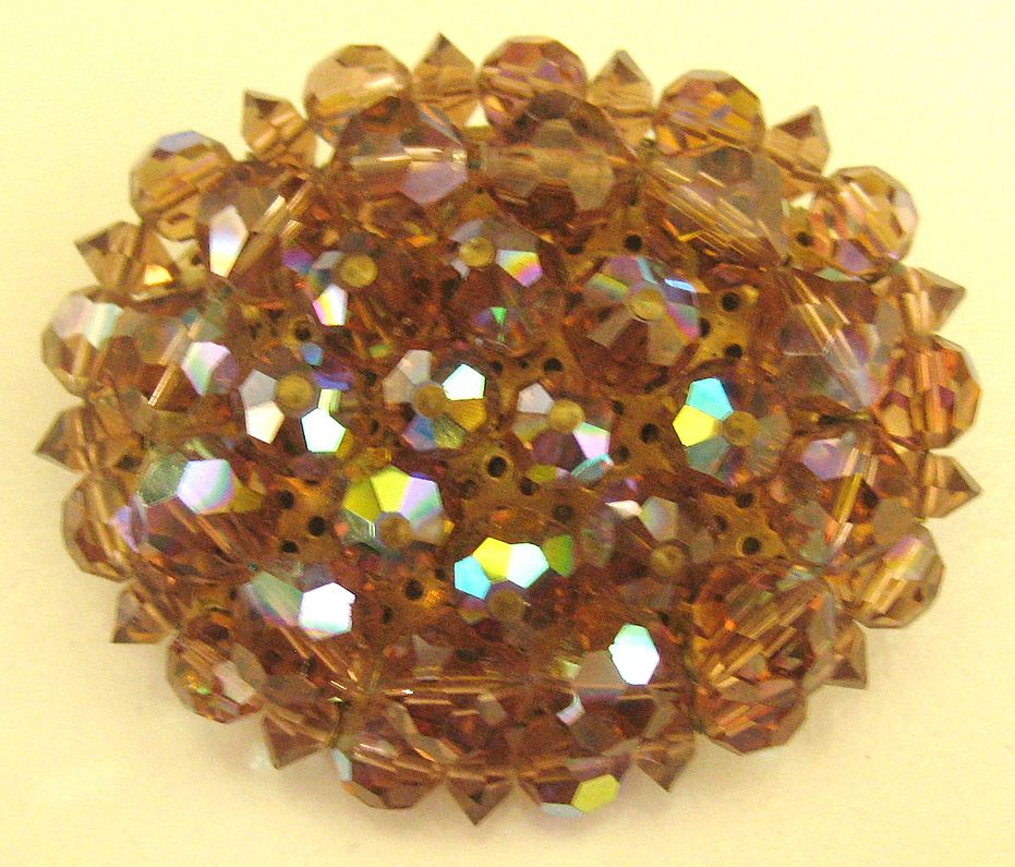 Chunky Sparkling Vintage AB Amber Crystal Brooch
