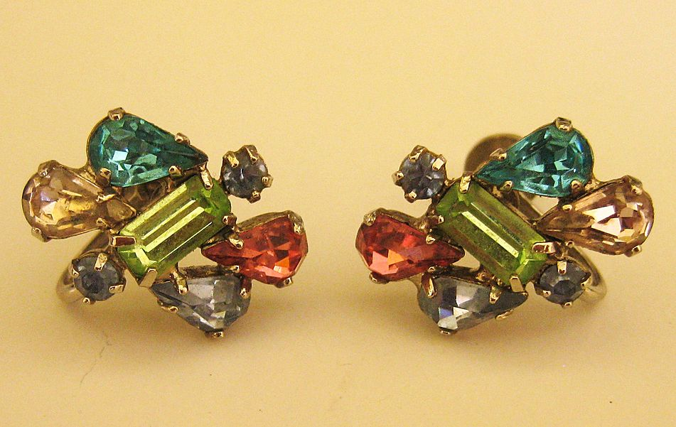 "Beautiful Vintage Multi Color Rhinestone Earring ""Sparklers""- Screwback"