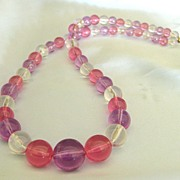 Gorgeous Vintage Pink, Lavender and Clear Graduated Lucite Bead Necklace