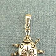 Adorable Vintage Sterling Silver Ladybug Pendant or Charm