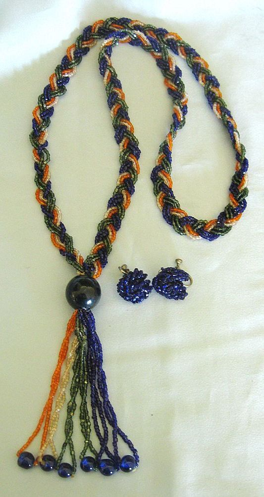 Sparkling vintage tiny glass bead braided necklace with for Jewelry making classes san diego