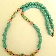 Lovely Vintage Porcelain Porcelain Bead Necklace is Blue and Pink with Ribbed Gold Tone Accent Beads