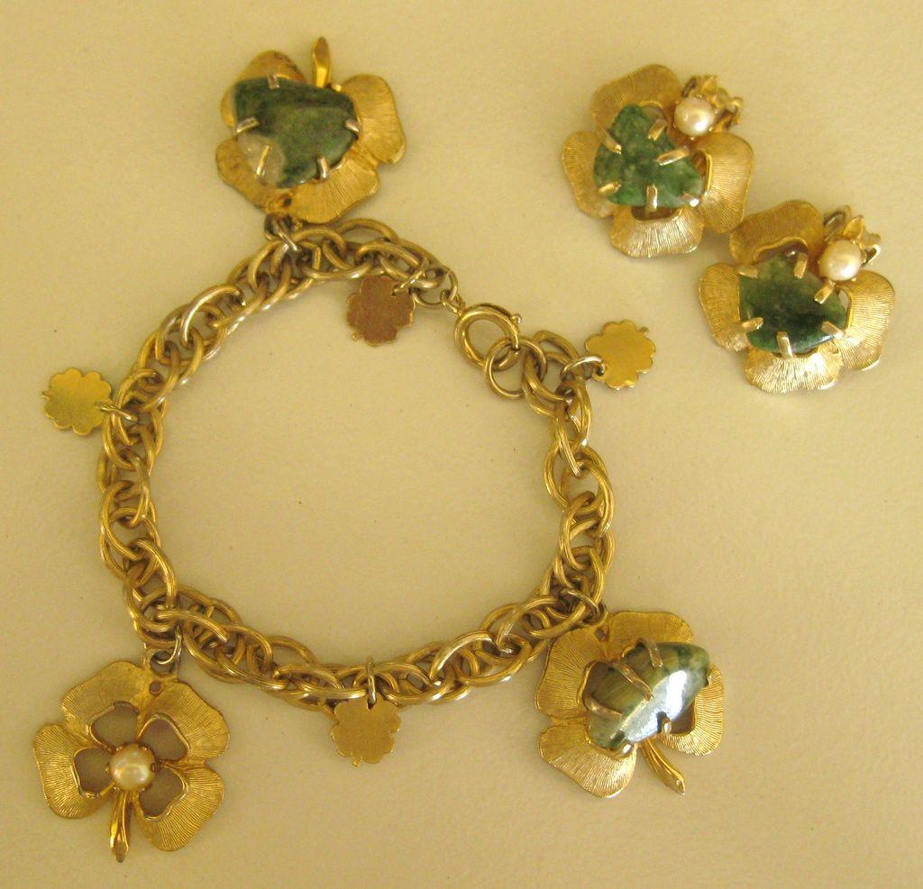 Adorable Vintage Four Leaf Clover Bracelet And Clip