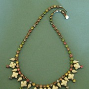 Lovely Vintage Milk Glass and Pastel Paste Necklace