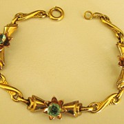 Pretty Vintage Gold Filled Blue Rhinestone Flower Link Bracelet