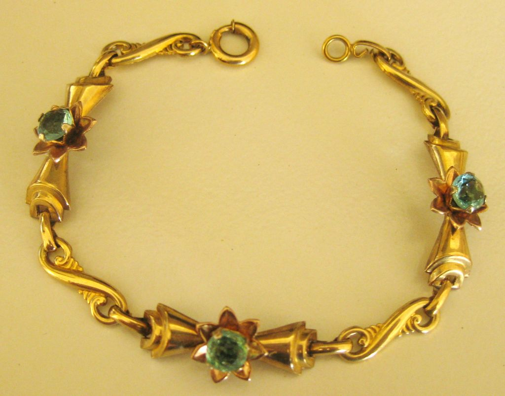 Pretty vintage gold filled blue rhinestone flower link for Jewelry making classes san diego