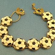 Charming Vintage Enamel Soccer Ball Link Bracelet