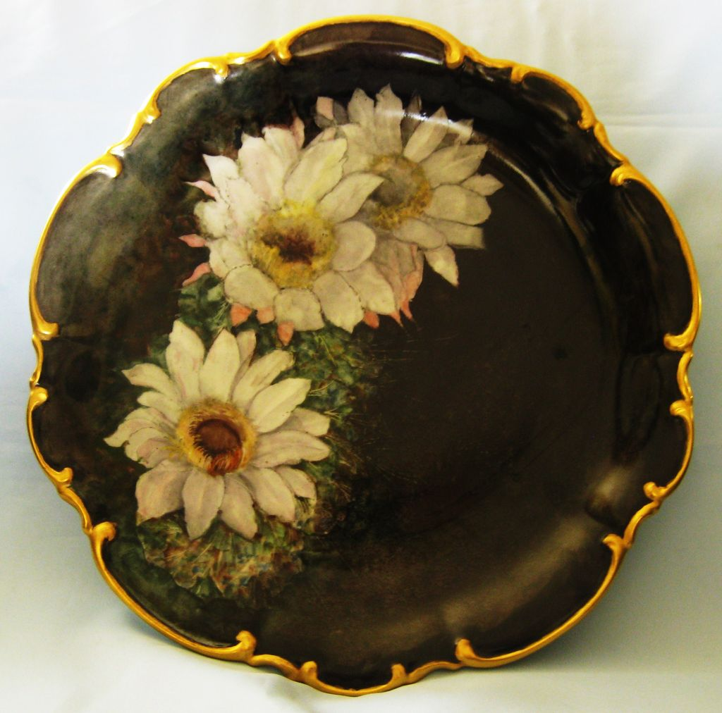 Large Dramatic Vintage Bavarian Hand Painted Porcelain Scalloped Floral Plate with Gold Gilt