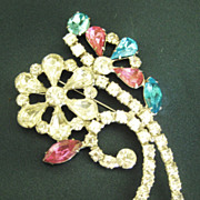 Large Sparkling Vintage Pink, Blue and Clear Rhinestone Flower Brooch