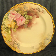 Beautiful Circa 1900 Delinieres and Cie Large Limoges Scalloped Hand Painted Roses Porcelain Plate