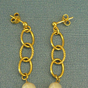 Lovely 14K Yellow Gold Over Sterling Silver Freshwater Pearl Dangle Pierced Earrings