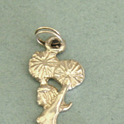 Winning Vintage Sterling Silver Cheer Leader with Pom-Poms Charm